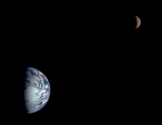 Near image of Moon and Earth