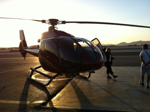 Dawn helicopter flight