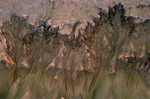 Subsurface water leaking on Mars. Picture credit: NASA